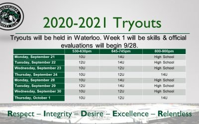 2020-2021 Tryout Dates Announced